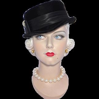 Vintage 1950s Black Velvet Cocktail Hat