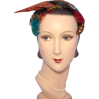 Vintage 1950s Feather Hat by Fleur de Lis