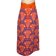 Vintage 1970s Quilted Maxi Skirt Orange and Blue Floral Print
