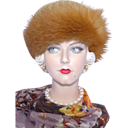 Vintage 1960s Red Fox Fur Ursula Hammil Wool Crochet Hat