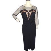 Vintage 1950s Dorothy O'Hara Black Cocktail Dress Originally Sold at Montaldos