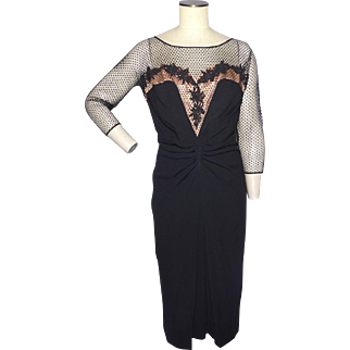 Vintage 1950s Dorothy O'Hara Black Cocktail Dress Originally Sold at Montaldos