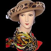 Vintage 1980s Adolfo II Wool Felt Hat Faux Leopard Fur Trim