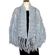 Vintage 1960s Blue Mohair Shawl Hand Made in Greece by Tasi Hellas