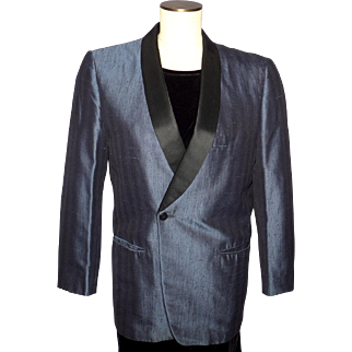 Vintage 60s Mens Tux Formal Dinner Jacket Steel Blue SSS Label