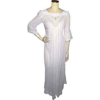 Vintage 1970s Christian Dior Peasant Style Night Gown Saks Fifth Avenue