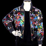 Vintage 1993 Nicole Miller Silk Bomber Style Jacket World Traveler Print