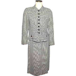 Vintage 1940s 50s Jane Andrea Suit 2 pc Black and White Checkered Versatweed