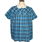 Vintage 1950s Maternity Top Blue Plaid Cotton Pleated