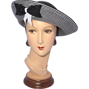 Vintage 1980s Sylvia Black and White Straw Breton Hat