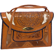 Vintage 1960s Mexican Tooled Leather Handbag Aztec Calendar and Firebird Cowhide Inserts