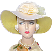 Vintage 1980s Chapeau Creations Ruth Kropveld Wide Brimmed Straw Picture Hat Silk Rose Detail
