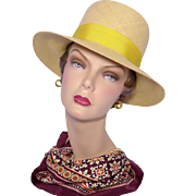 Vintage 1960s Ladies Genuine Panama Hat Yellow Bow and Hatband