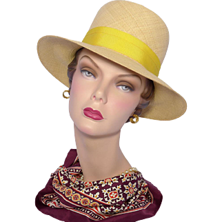 Vintage 1960s Genuine Panama Hat Yellow Bow and Hatband