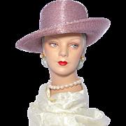 Vintage 1980s Frank Olive Blush Pink Metallic Hat