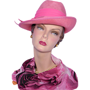 Vintage 1970s Gwenn Pennington Pink Straw Fedora Hat