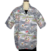 Vintage Hawaiian Print Shirt Evergreen Island Made in Hawaii