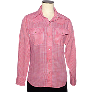 Vintage 1970s Levis Panatela Tops Shirt Red and White Checkered