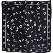 Vintage 1980s Diane Von Furstenberg Silk Scarf for Baar & Beards Black and White Broken Hearts Print