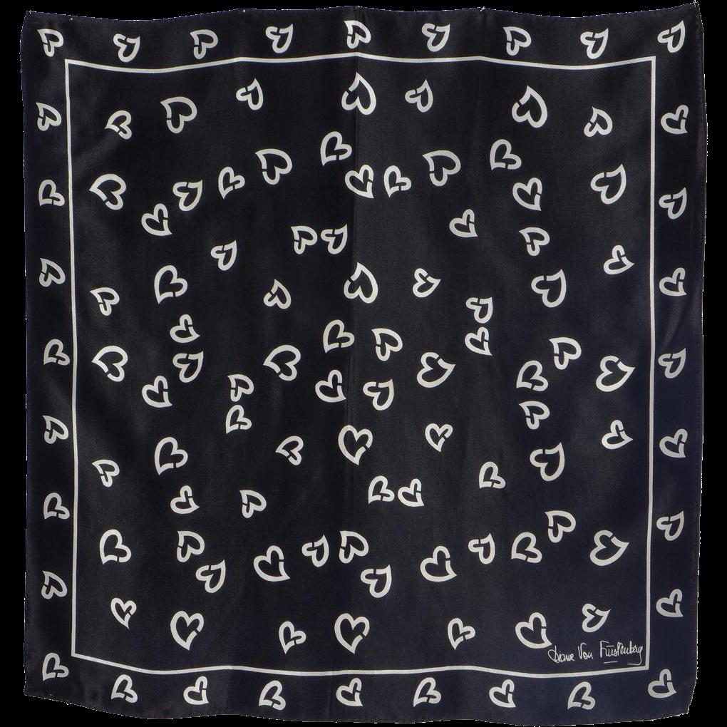 Vintage 1980s Diane Von Furstenberg Silk Scarf for Baar & Beards Black and White Broken Hearts Print