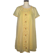 Vintage 1960s Vanity Fair Yellow Nightgown and Robe Peignoir Set