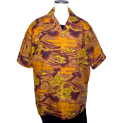 Vintage 1970s Hawaiian Shirt Phoenix Bird Print