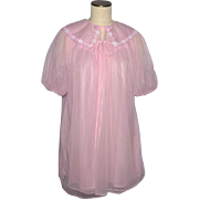 Vintage 1960s GMC Pink Nightgown and Robe Peignoir Set