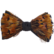 Vintage 1950s-60s Beau Brummell Genuine Feather Bow Tie in Original Box