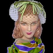 Vintage 1960s Green Whimsy Hat Grosgrain Ribbon Bows