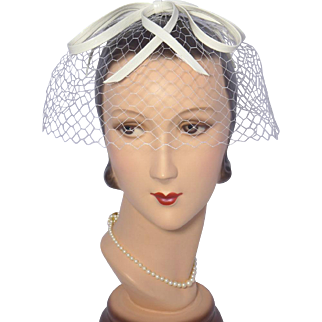 Vintage 1960s Whimsy Faux White Leather Bow