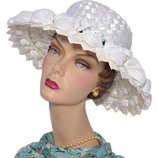 Vintage 1960s Mr John Classic White Woven Cellophane Straw Picture Hat