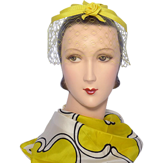 Vintage 1960s Yellow Rose Whimsy Hat