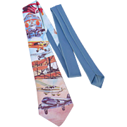 Vintage 1980s Ralph Marlin Bicentennial of Flight Polyester Necktie Airplane Print