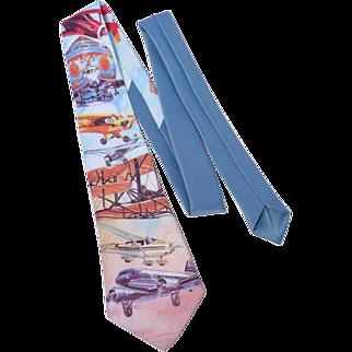 Vintage 1980s Ralph Marlin Bicentennial of Flight Polyester Necktie Airplane Print