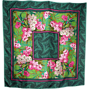1990s Oscar de la Renta Floral Silk Scarf Made For Look Good Feel Better