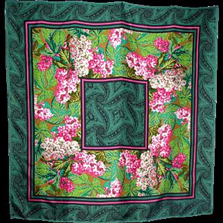 1990s Oscar de la Renta Floral Silk Scarf Made For Look Good Feel Better