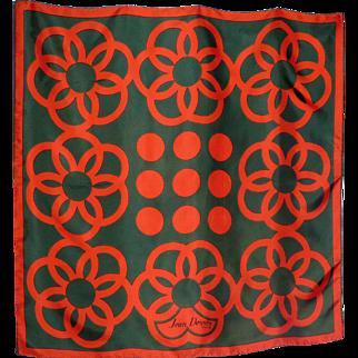 Vintage 1960s Jean Desses Silk Scarf Mod Floral Print Made in France