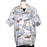 1990s Vietnam War Airplane and Helicopter Print Shirt Kalaheo Made in Hawaii USA