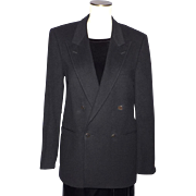 Vintage 1970s Yves Saint Laurent Menswear Blazer Black Wool Double Breasted Made in France