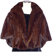 Vintage 1960s Mink Fur Stole Brown Ranch Shoulder Wrap
