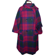 Vintage 1960s Modelia Wool Coat Navy Blue Burgundy Plaid With Matching Scarf Size 10