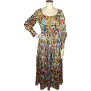 Vintage 1960s Juliet Style Maxi Dress Paisley Floral Print Gold Metallic Braid Trim Size 8