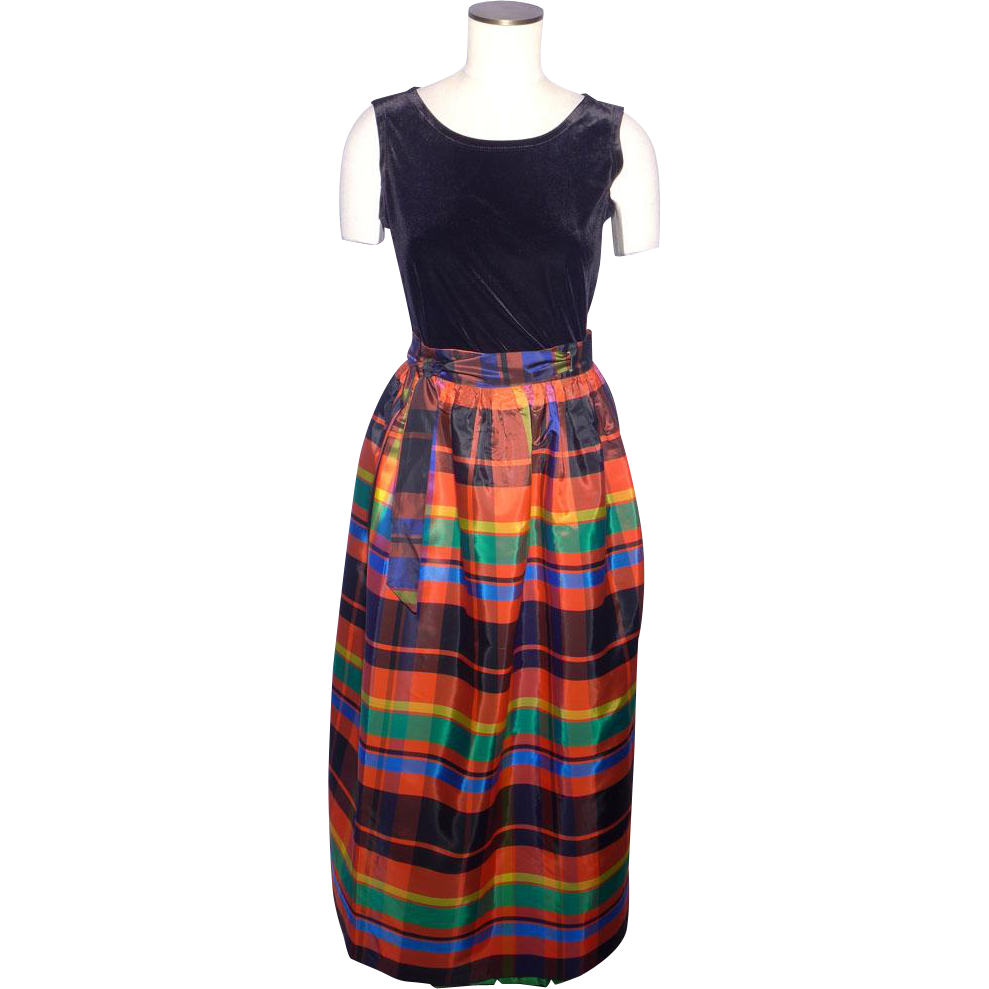 Vintage 1970s Ellen Tracy Plaid Taffeta Wrap Maxi Skirt