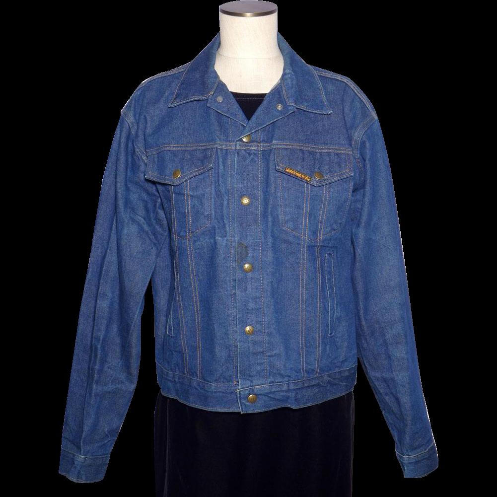 Vintage 1970s Saddle King Western Denim Jacket Made in USA Size 44 REG