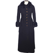 Vintage 1960s-70s Black Wool Maxi Coat Ken Meritt for Braeton Faux Fur Originally Sold at Thalhimers