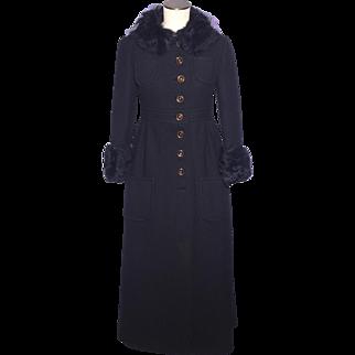 Vintage 1960s-70s Black Wool Maxi Coat Ken Meritt for Braeton Faux Fur Originally Sold at Thalhimers
