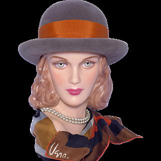 Vintage 1960s Betmar Derby Style Hat Gray Wool Felt Orange Bow