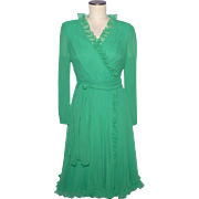 Vintage 1970s Miss Elliette Green Chiffon Cocktail Dress Size 8