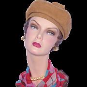 Vintage 1960s Camel Brown Suede Hat Designed by Phyllis Deadstock