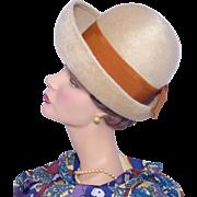 Vintage 1960s Beige Fur Felt Breton Hat by Winner Original Orange Ribbon Bow Detail